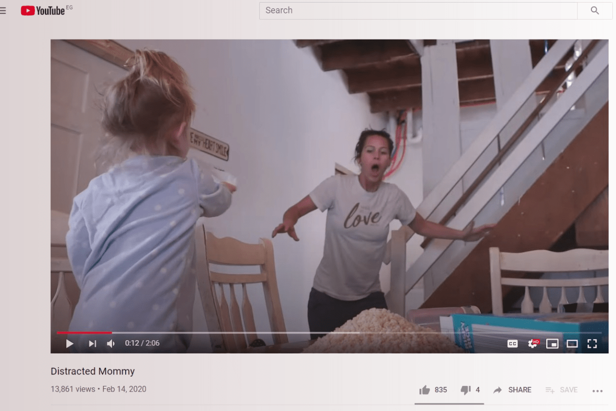 Screenshot of YouTube parenting channel
