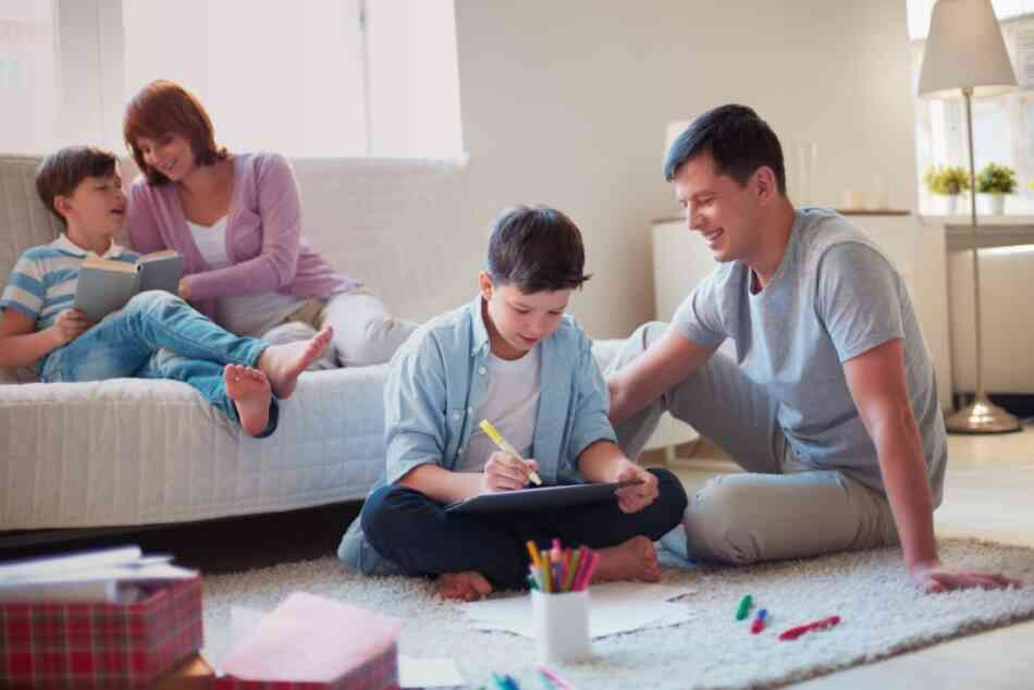 Helicopter parents supervising kids