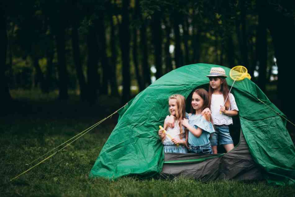 Kids camping in tent