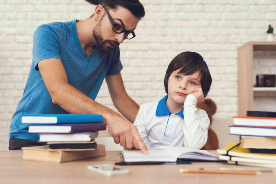 Dad scolds son about grades