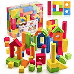 JaxoJoy Foam Building Blocks for Kids- 108 Piece EVA Foam Blocks Gift Playset for Toddlers Includes Large, Soft, Stackable Blocks in Variety of Colors