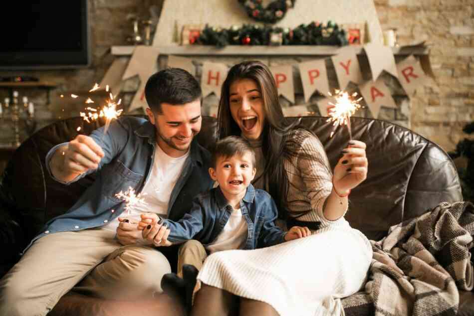 family celebrates new year