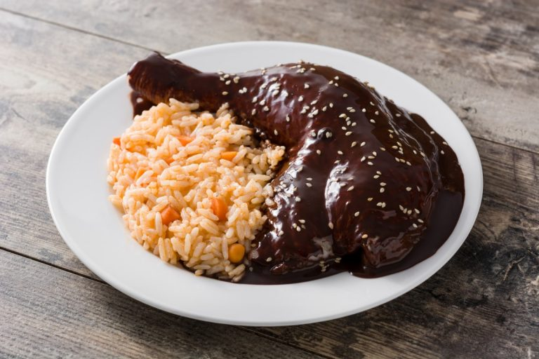 traditional-mole-poblano-with-rice