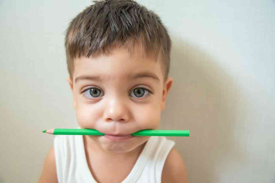 SPD child chewing on pencil