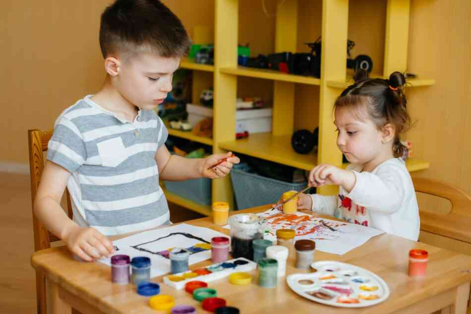 boy and girl paint