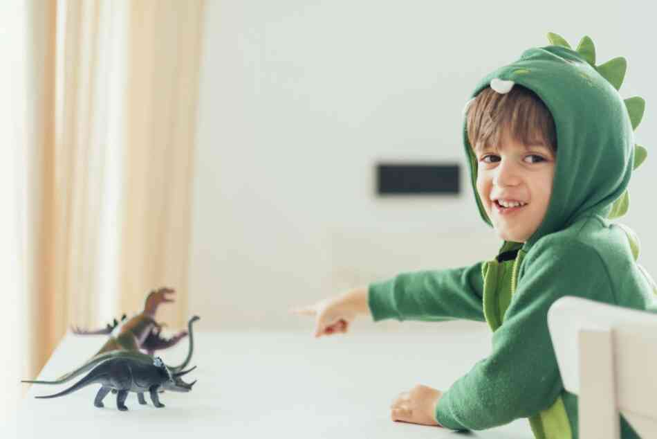 boy in dinosaur costume playing with dinosaurs