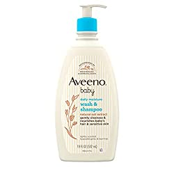 Aveeno Baby Daily Moisture Gentle Bath Wash & Shampoo with Natural Oat Extract, 18 fl. oz, Package may vary