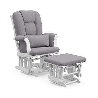 Storkcraft Tuscany Custom Glider and Ottoman with Lumbar Pillow
