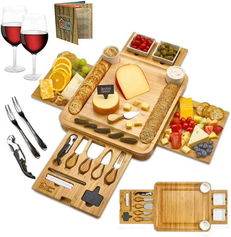 Cheese-Board-Ceramic-Bowls-Serving-Plates-Magnetic-Drawers-Bamboo-Charcuterie-Cutlery-Knife-Set-Server-Forks-Wine-Opener