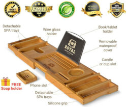 ROYAL-CRAFT-WOOD-Luxury-Bathtub-Caddy-Tray-One-or-Two-Person-Bath-and-Bed-Tray-Bonus-Free-Soap-Holder-(Natural)