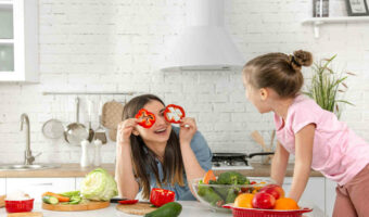 mom and young daughter having fun in the kitchen