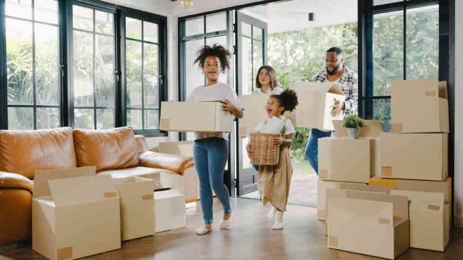 family moving into newly bought house