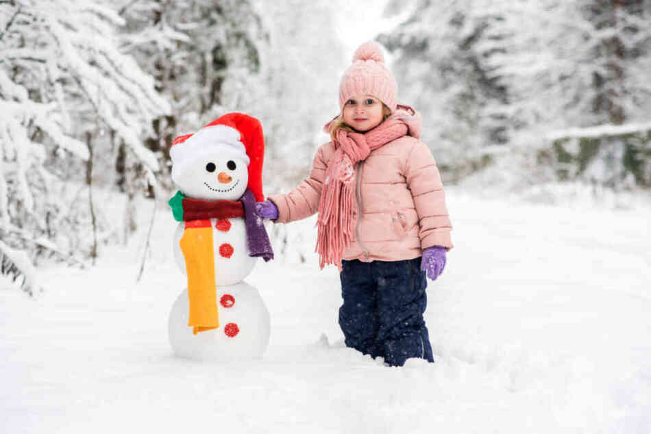 little girl dressed up for winter outdoors
